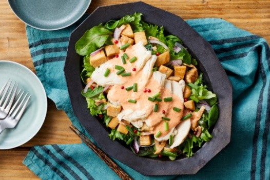 蒸し鶏と切り株えのきの明太サラダ
