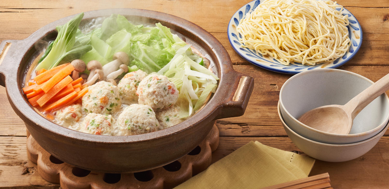 チーズ入りお野菜鶏団子白湯鍋